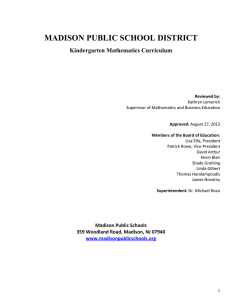 MADISON PUBLIC SCHOOL DISTRICT Kindergarten Mathematics Curriculum