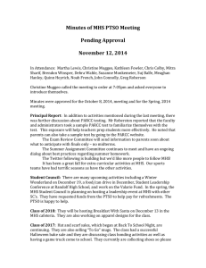 Minutes of MHS PTSO Meeting  Pending Approval November 12, 2014