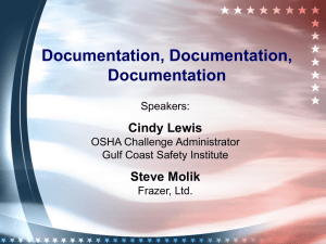 Documentation, Documentation, Documentation Cindy Lewis Steve Molik