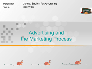 Advertising and the Marketing Process English for Advertising Matakuliah