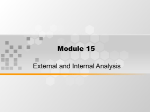 Module 15 External and Internal Analysis
