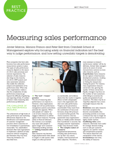 Measuring sales performance BEST PRACTICE