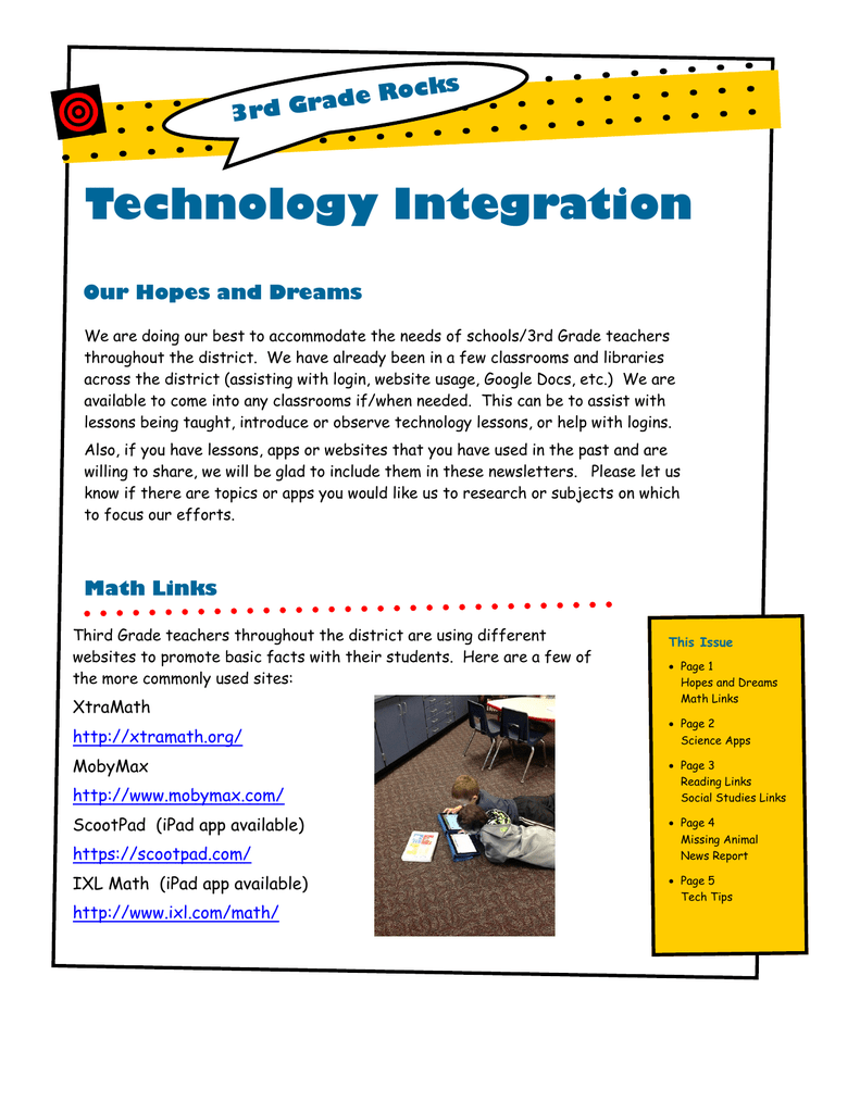 Technology Integration ocks 3rd Grade R Our Hopes and Dreams
