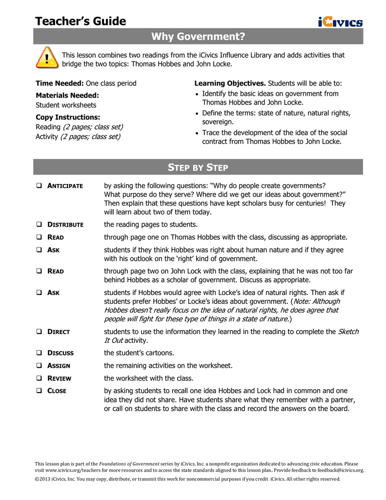 Workbooks thomas jefferson worksheets : Teacher's Guide Why Government?