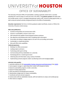 The University of Houston Office of Sustainability is seeking a... graduate assistant