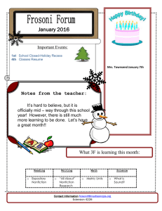 January 2016 Notes from the teacher: