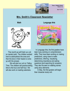 Mrs. Smith's Classroom Newsletter Language Arts Math