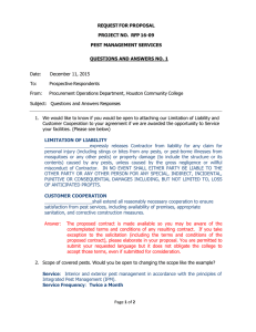 REQUEST FOR PROPOSAL  PROJECT NO.  RFP 16-09 PEST MANAGEMENT SERVICES