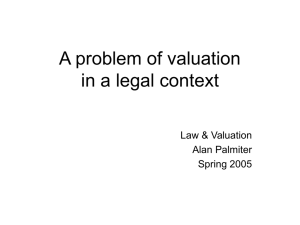 A problem of valuation in a legal context Law & Valuation Alan Palmiter