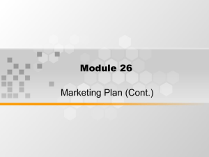 Module 26 Marketing Plan (Cont.)