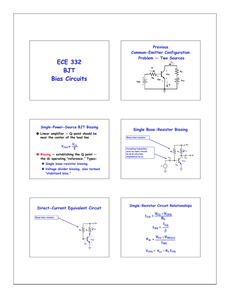 Ece 332 Bjt Bias Circuits Previous How To Place A Coupling Capacitor In Circuit