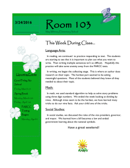 Room 103 This Week During Class... 3/4/2013 3/24/2016