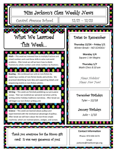 What We Learned This Week… Miss Jackson's Class Weekly News Central Avenue School
