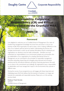 Sustainability, Corporate Responsibility (CR) and Ethical Performance on the Cranfield MBA 2009-10