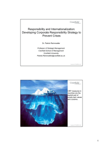Responsibility and Internationalization: Developing Corporate Responsibility Strategy to Prevent Crises