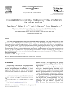 Measurement-based optimal routing on overlay architectures for unicast sessions Tuna Gu¨ven