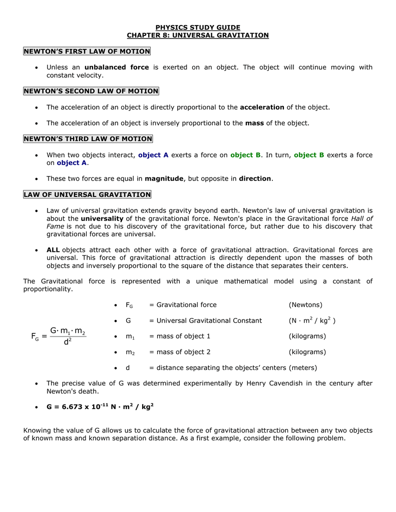 PHYSICS STUDY GUIDE CHAPTER 8: UNIVERSAL GRAVITATION ...