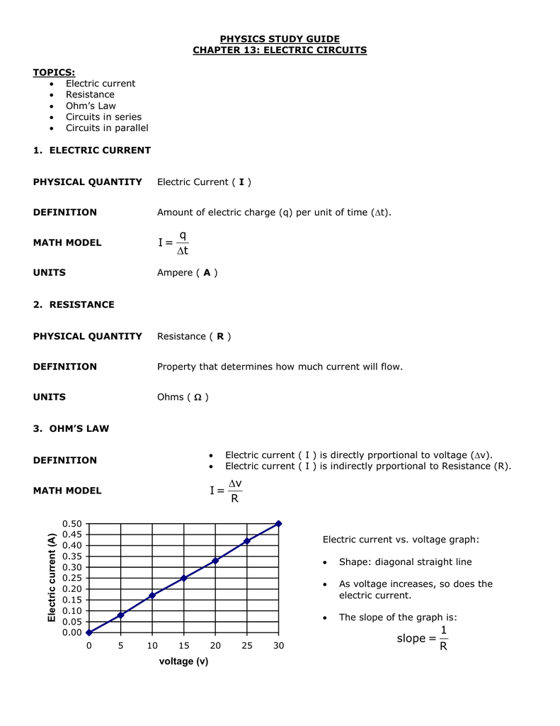 physics study guide chapter 13: electric circuits topics: 1