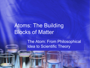 Atoms: The Building Blocks of Matter The Atom: From Philosophical