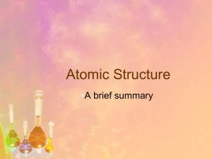 Atomic Structure • A brief summary