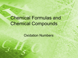 Chemical Formulas and Chemical Compounds Oxidation Numbers