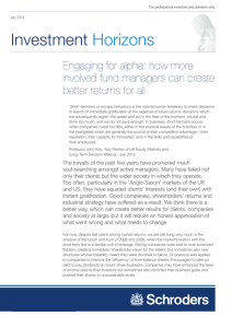 Investment Horizons Engaging for alpha: how more involved fund managers can create