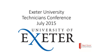 Exeter University Technicians Conference July 2015
