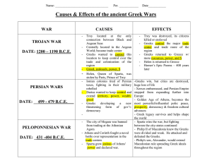 Causes & Effects of the ancient Greek Wars  WAR CAUSES