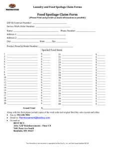 Food Spoilage Claim Form Laundry and Food Spoilage Claim Forms