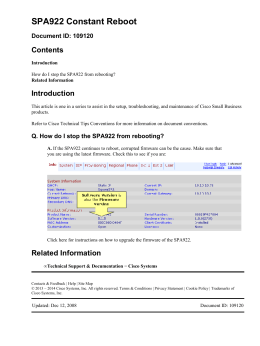 SPA922 Constant Reboot Contents Introduction Document ID: 109120