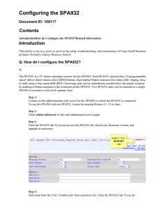 Configuring the SPA932 Contents Introduction Document ID: 109117