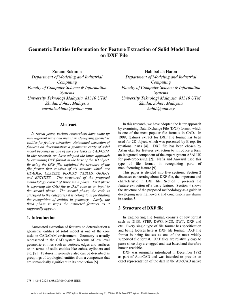 Geometric Entities Information for Feature Extraction of Solid Model