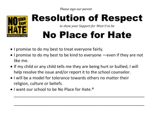 Resolution of Respect No Place for Hate