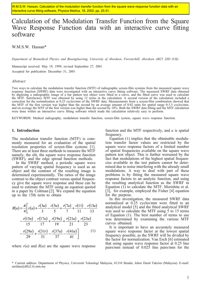 Calculation of the Modulation Transfer Function from the Square