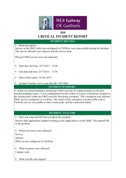 ISS CRITICAL INCIDENT REPORT