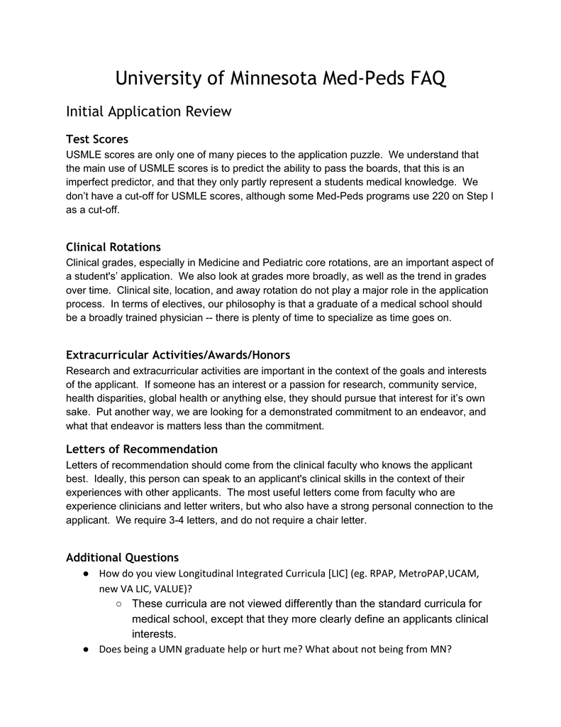 University of Minnesota Med-Peds FAQ Initial Application Review Test