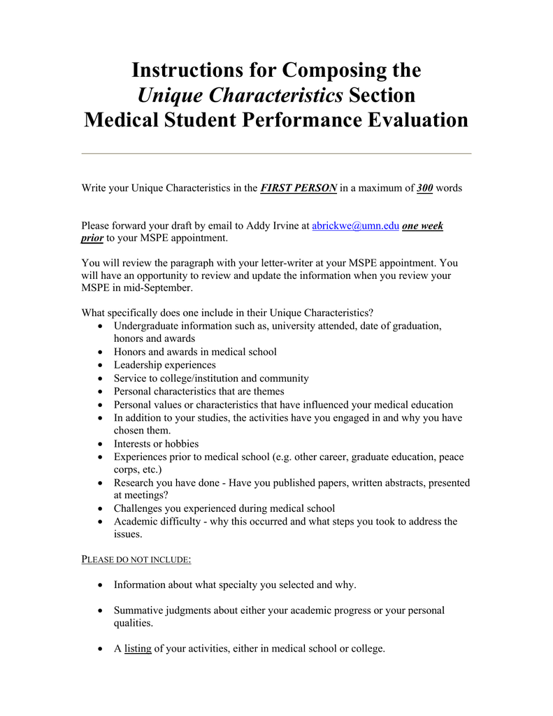 Med School Update Letter.Instructions For Composing The Medical Student Performance