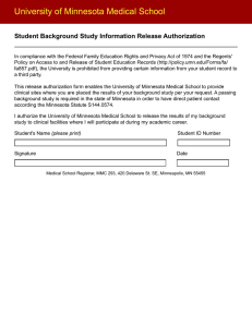 University of Minnesota Medical School Student Background Study Information Release Authorization
