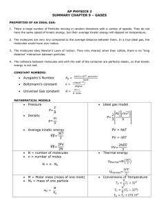 AP PHYSICS 2 SUMMARY CHAPTER 9 – GASES