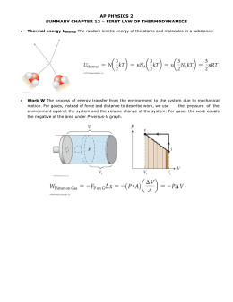AP PHYSICS 2 SUMMARY CHAPTER 12 – FIRST LAW OF THERMODYNAMICS