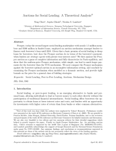 Auctions for Social Lending: A Theoretical Analysis I Ning Chen , Arpita Ghosh
