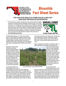 Biosolids Fact Sheet Series  FIVE-YEAR STUDY RESULTS OF HYBRID POPLAR CLONE STUDY