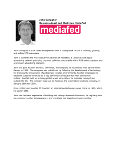 John Gallagher Business Angel and Chairman MediaFed