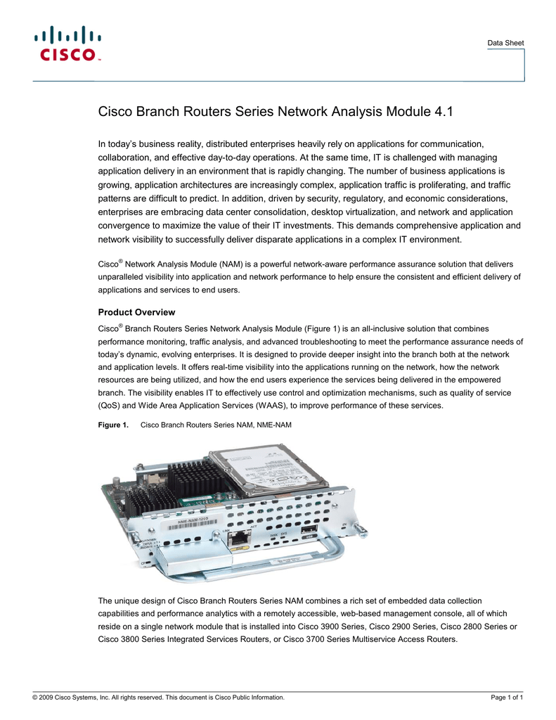 Cisco Branch Routers Series Network Analysis Module 4 1