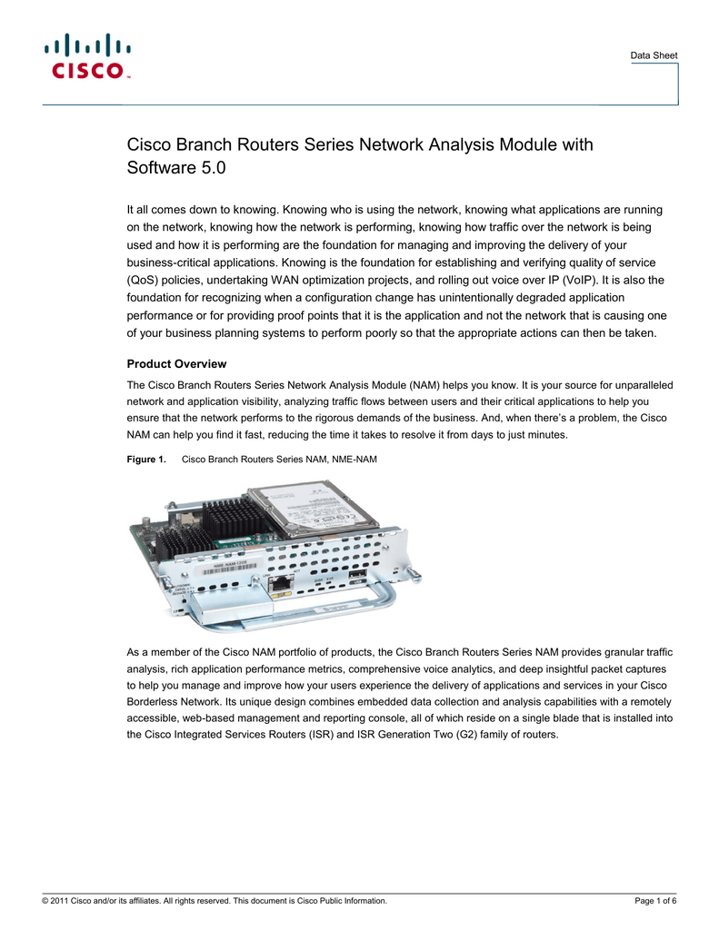 Cisco Branch Routers Series Network Analysis Module with Software 5 0