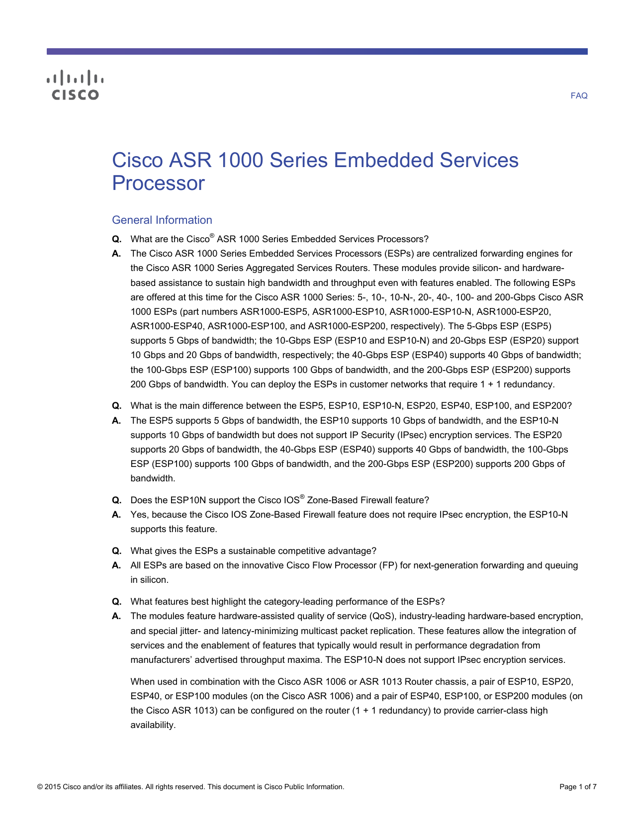 Cisco ASR 1000 Series Embedded Services Processor General