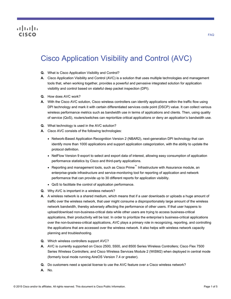 Cisco Application Visibility and Control (AVC)
