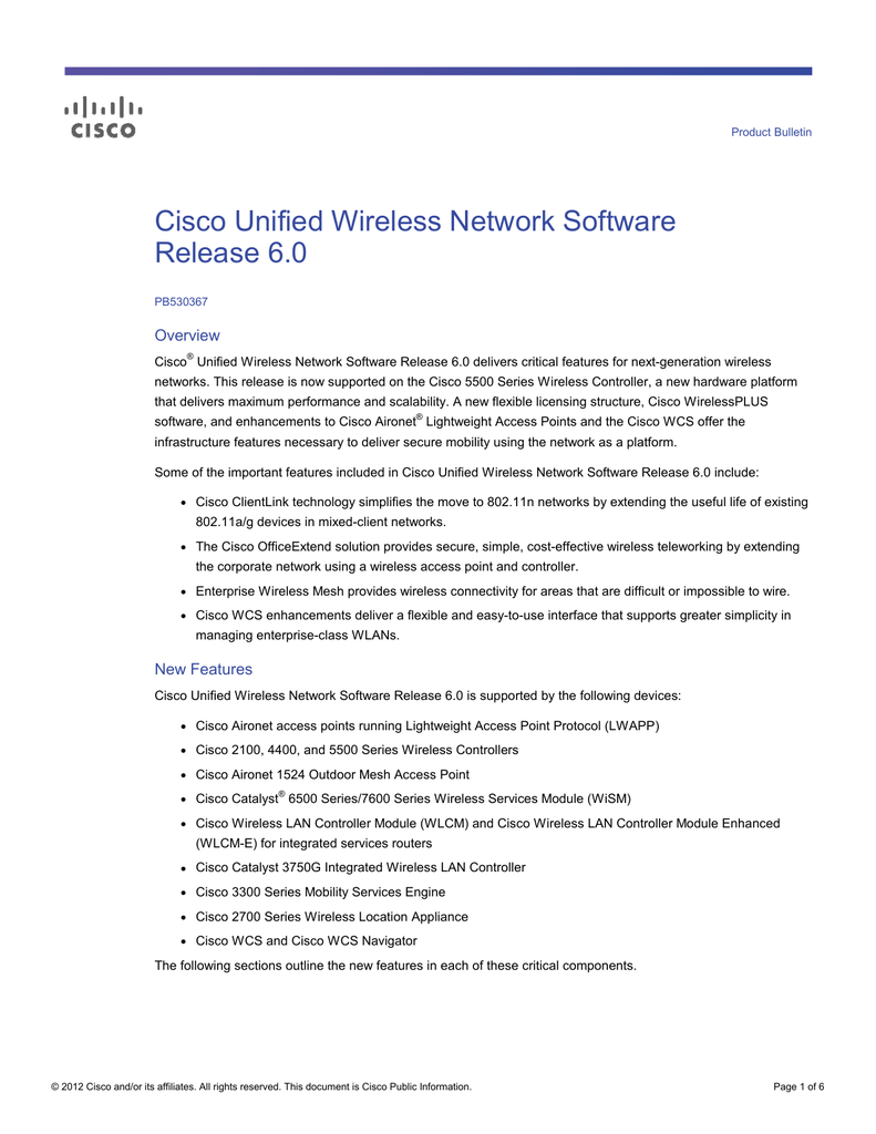 Cisco Unified Wireless Network Software Release 6 0 Overview