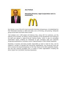 Atul Pathak Managing Director, Appt Corporation Ltd t/a McDonald's