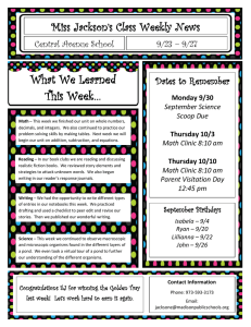 What We Learned This Week… Miss Jackson's Class Weekly News Dates to Remember